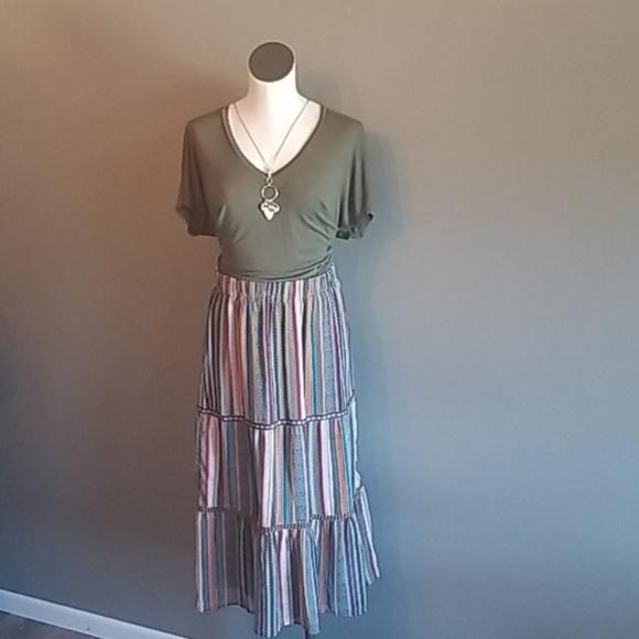 Christopher & Banks boho striped skirt